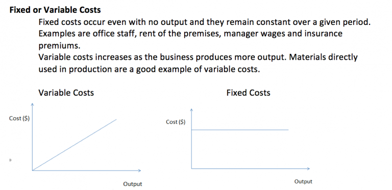 What are fixed and variable costs?