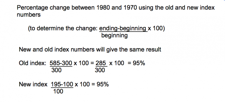 change in index numbers