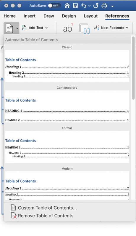 table of contents options